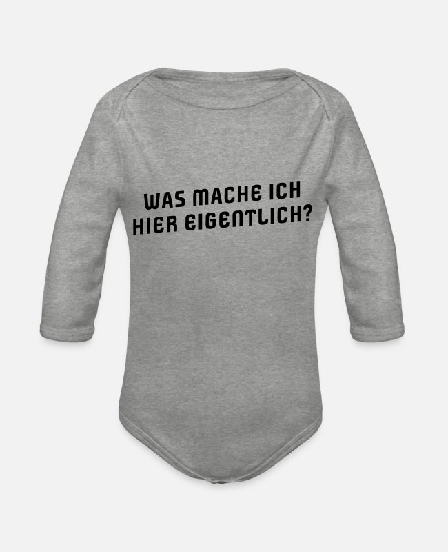 Help Baby Bodysuits - WHAT DO I REALLY HERE? - Organic Long-Sleeved Baby Bodysuit heather grey