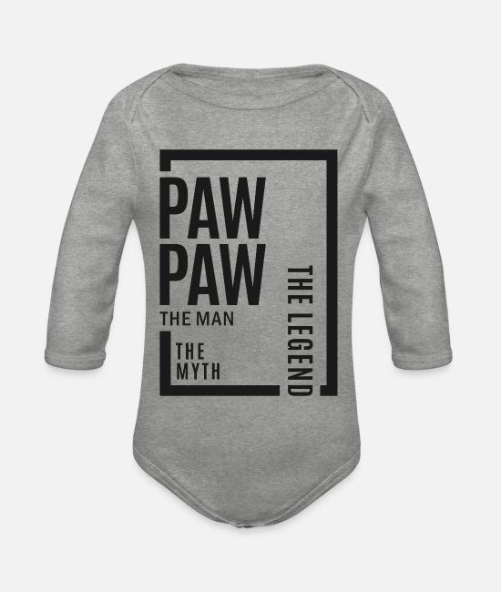 Grandpa Baby Bodysuits - Paw Paw The Legend - Organic Long-Sleeved Baby Bodysuit heather grey