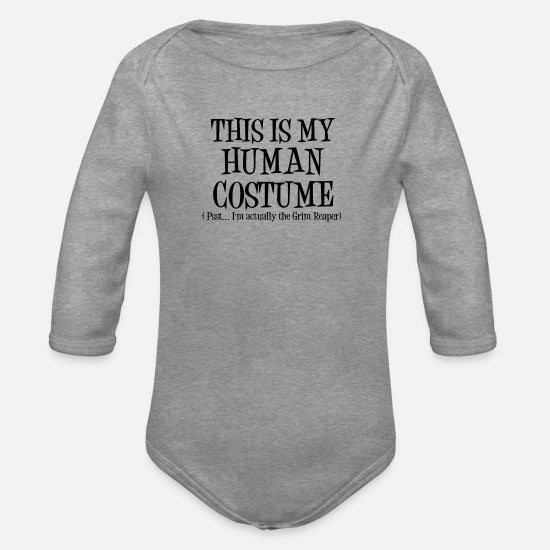 Witches Broom Baby Clothes - Human Costume GrimReaper Halloween Costume - Organic Long-Sleeved Baby Bodysuit heather grey