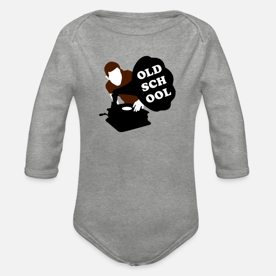 Old Fashioned Baby Clothes - Old school DJ - Organic Long-Sleeved Baby Bodysuit heather grey