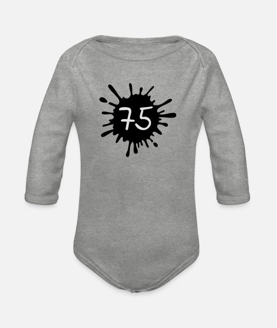 Blob Baby Bodysuits - 75__zahl_klecks__f2 - Organic Long-Sleeved Baby Bodysuit heather grey