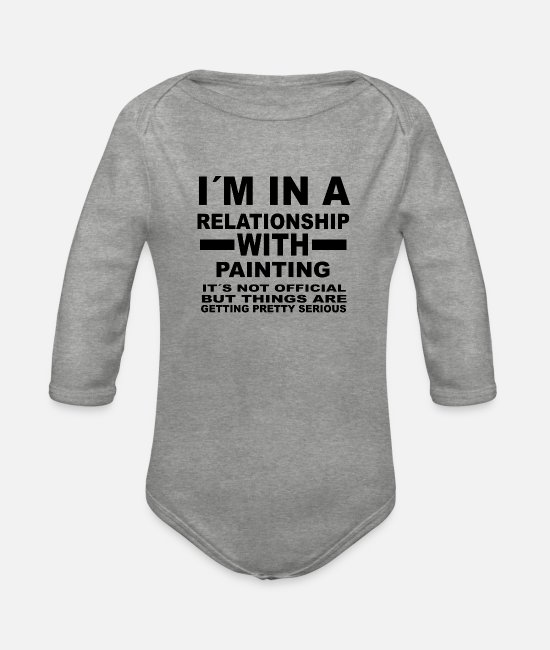 Training Baby Bodysuits - Relationship with PAINTING - Organic Long-Sleeved Baby Bodysuit heather grey