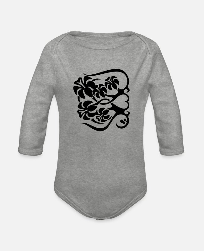Heart Baby Bodysuits - Flower Fence - Organic Long-Sleeved Baby Bodysuit heather grey