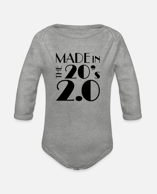 Geburtstag Baby Bodys - Made In The 20's 2.0 - Baby Bio Langarmbody Grau meliert