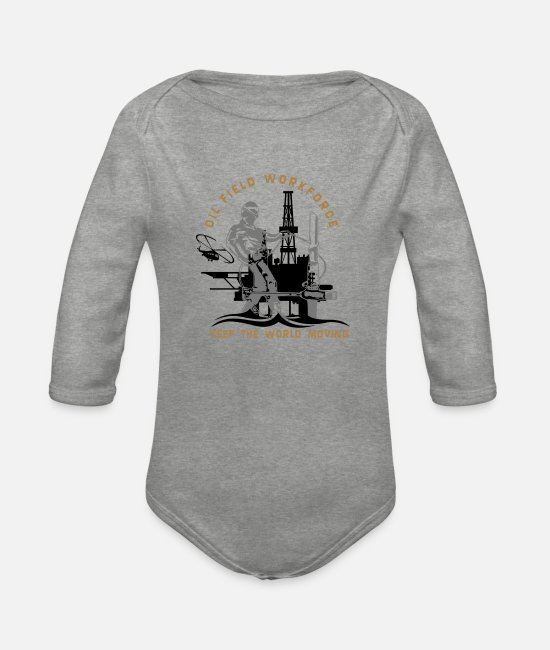 Middle East Baby Bodysuits - Oil Rig Oil Field North Sea Keep The World Movng - Organic Long-Sleeved Baby Bodysuit heather grey
