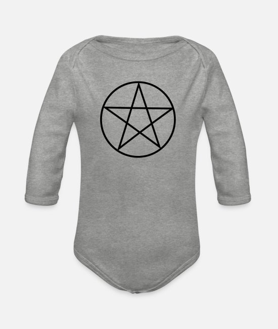 Star Baby Clothes - Pentagram / Pentacle - Organic Long-Sleeved Baby Bodysuit heather grey