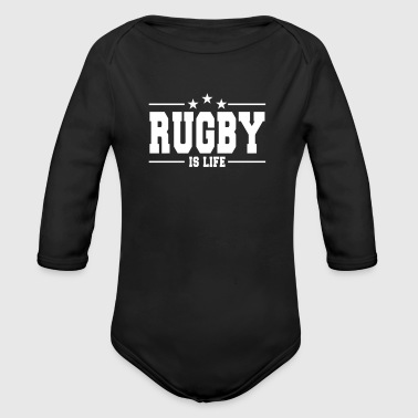 rugby is life 1 - Body orgánico de manga larga para bebé