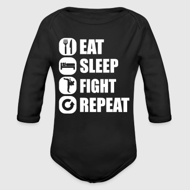 eat_sleep_fight_repeat_2_1f - Baby bio-rompertje met lange mouwen
