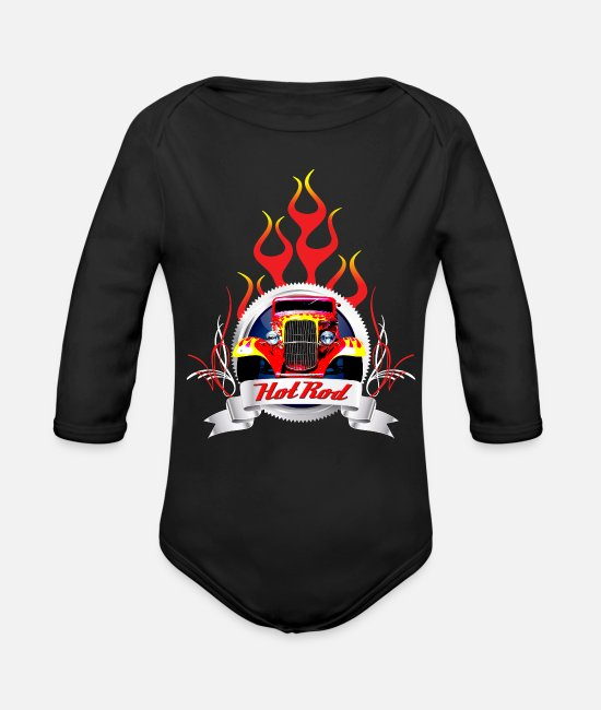 Pinstriping Baby Bodysuits - Hot rod - Organic Long-Sleeved Baby Bodysuit black