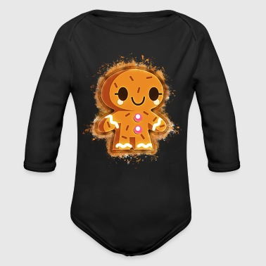 Gingerbread cookie biscuit brightly glowing - Organic Longsleeve Baby Bodysuit
