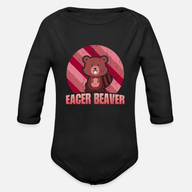 Eagerness Beaver eager zeal animal welfare - Organic Long-Sleeved Baby Bodysuit