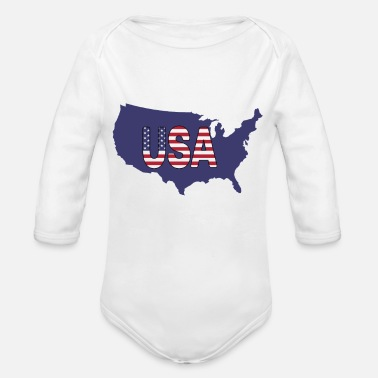 USA, United States of America blue map shape - Organic Long-Sleeved Baby Bodysuit
