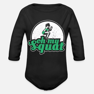Power Lifting Squat training gift - Organic Long-Sleeved Baby Bodysuit