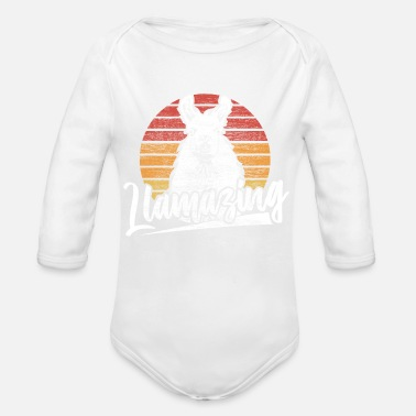 Threatened Lama Spitting Animal Welfare Gift - Organic Long-Sleeved Baby Bodysuit