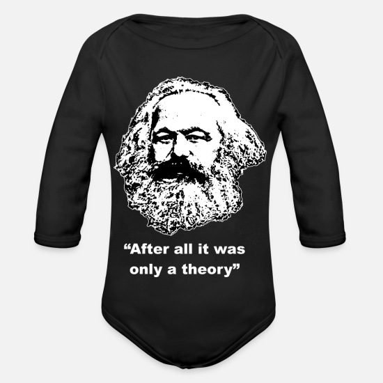 Marx Baby Clothes - Karl Marx after all it was only a theory - Organic Long-Sleeved Baby Bodysuit black