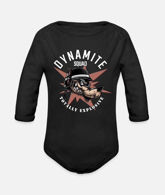 Soldier Baby Bodysuits - Dynamite Squad - Organic Long-Sleeved Baby Bodysuit black