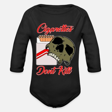 Cigarettes Dont kill skull - Organic Long-Sleeved Baby Bodysuit
