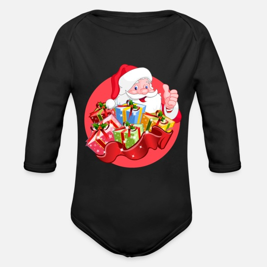 Present Baby Clothes - Nicholas with presents - Organic Long-Sleeved Baby Bodysuit black