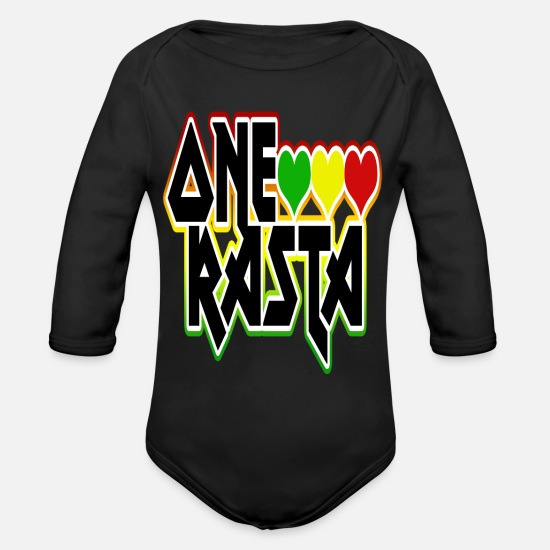 Rasta Baby Clothes - One Rasta - Organic Long-Sleeved Baby Bodysuit black