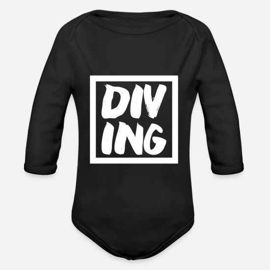 Aquatics Baby Clothes - Diving diving - Organic Long-Sleeved Baby Bodysuit black