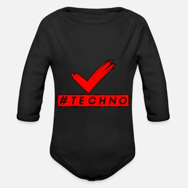 Techno Music Techno - Music - #techno - Organic Long-Sleeved Baby Bodysuit