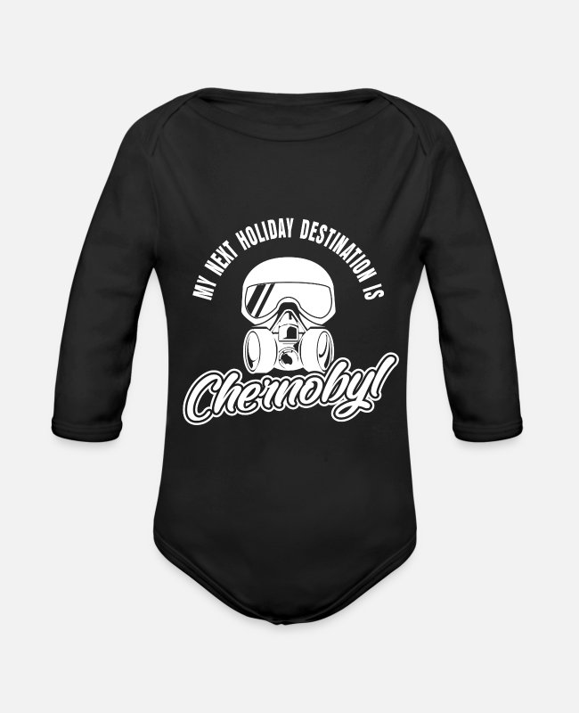 Pollution Baby Bodysuits - Chernobyl holiday tourist - Organic Long-Sleeved Baby Bodysuit black