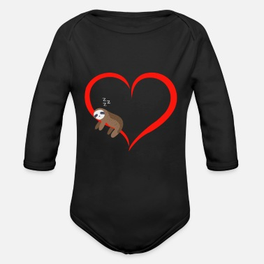 Sloth Sleeps Red Heart Valentine's Day Gift - Organic Long-Sleeved Baby Bodysuit