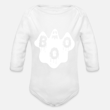 Ghost Boo ghost ghost ghost halloween scary - Organic Long-Sleeved Baby Bodysuit