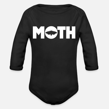 Lamp Moth Goth Teen E-Girl Moths Moth Moon - Organic Long-Sleeved Baby Bodysuit