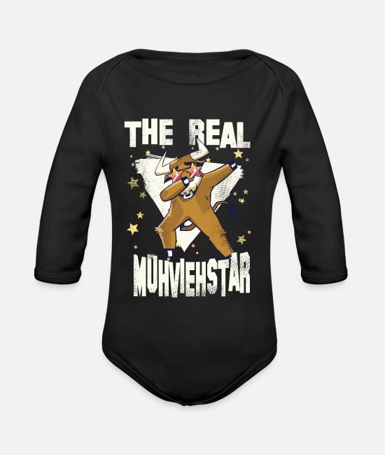 Stars Baby Bodysuits - Muh vieh star 02 - Organic Long-Sleeved Baby Bodysuit black