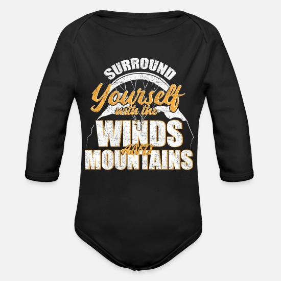 Gift Idea Baby Clothes - Paragliding paraglider - Organic Long-Sleeved Baby Bodysuit black