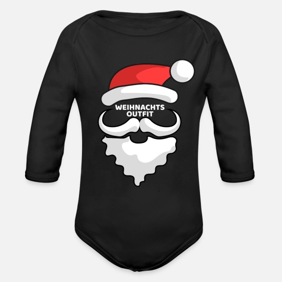 Gift Idea Baby Clothes - SANTA OUTFIT - Organic Long-Sleeved Baby Bodysuit black