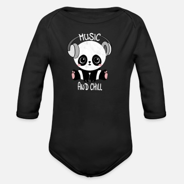 Cute Panda Music Shirt Headphones Relaxing Camiseta - Body de manga larga bebé