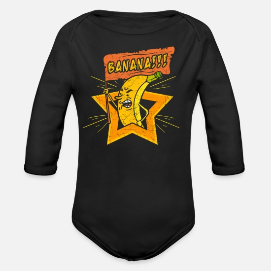 Banana Baby Clothes - Banana - Banana Riot - Organic Long-Sleeved Baby Bodysuit black