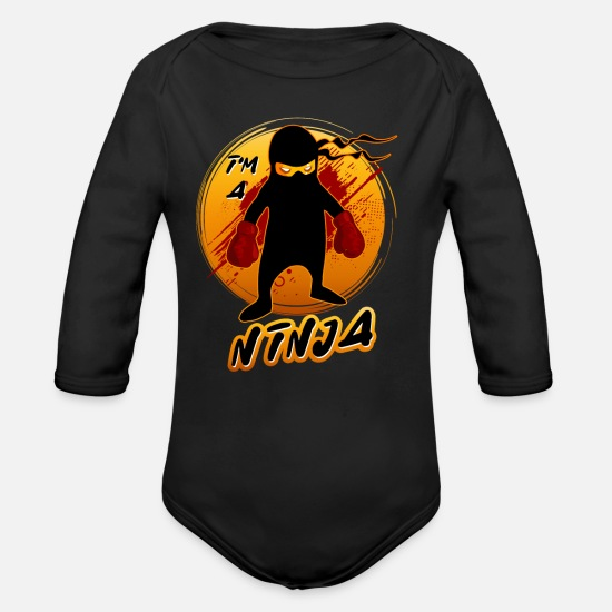 Birthday Baby Clothes - The little ninja on orange background - Organic Long-Sleeved Baby Bodysuit black