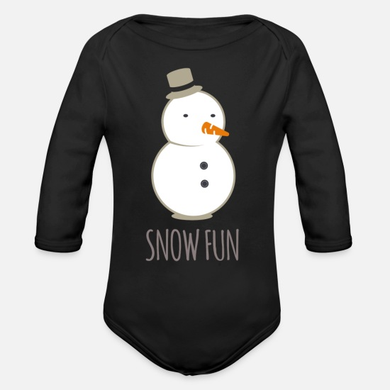 Gift Idea Baby Clothes - Snow fun snowman - Organic Long-Sleeved Baby Bodysuit black