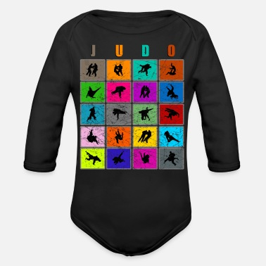 Children Judo martial arts competition techniques - Organic Long-Sleeved Baby Bodysuit