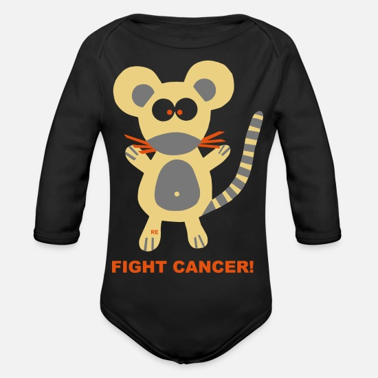 Love Baby Clothes - Mouse Fight Cancer Breast Cancer Chemotherapy Costumes - Organic Long-Sleeved Baby Bodysuit black