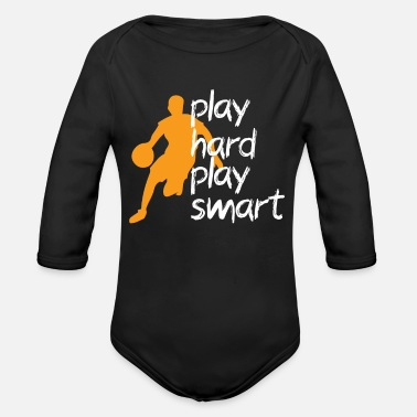 Rebound play hard play smart basketball - Organic Long-Sleeved Baby Bodysuit