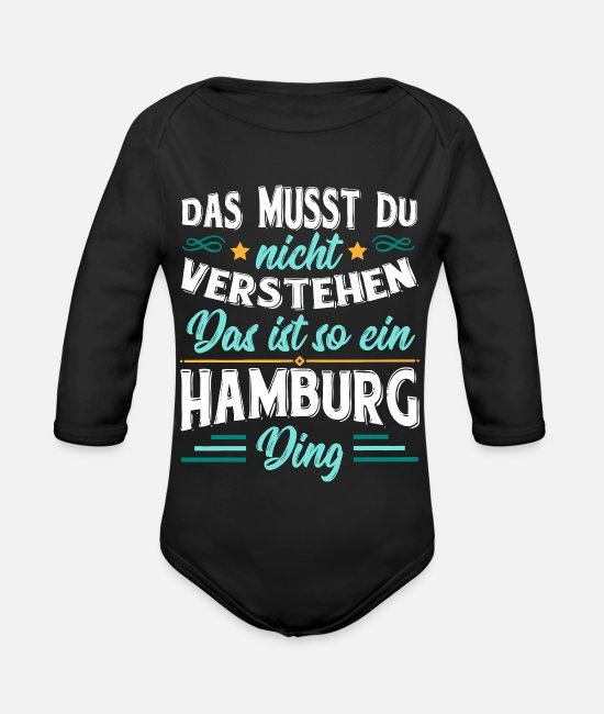 Harbour Baby Clothes - Hamburg Alster Elbe Elbphilharmonie harbor gift - Organic Long-Sleeved Baby Bodysuit black