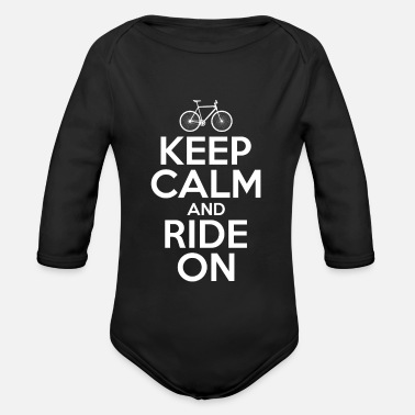 Bike Keep Calm og Ride på Funny Bike Shirt - Økologisk langærmet babybody