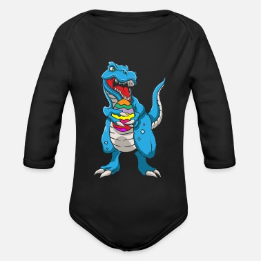 Easter Bunny Dinosaur T-Rex Easter Bunny Happy Easter Gift - Organic Long-Sleeved Baby Bodysuit