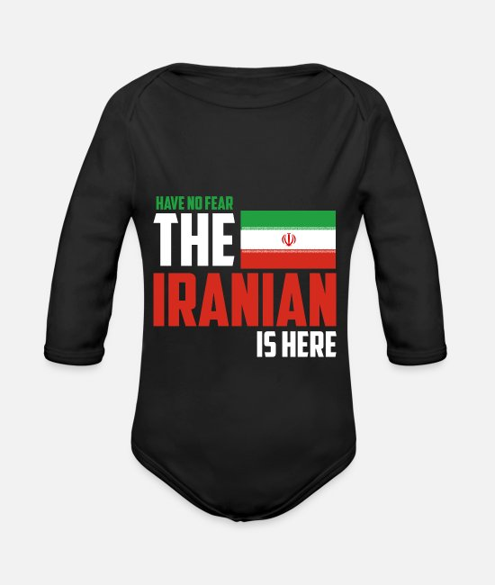 Iran Baby Bodysuits - Iran - Organic Long-Sleeved Baby Bodysuit black