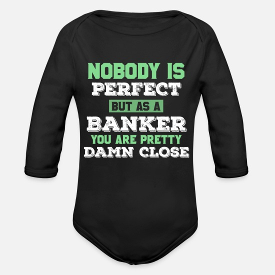 Gift Idea Baby Clothes - Banker Banker Banker Bank Gift idea - Organic Long-Sleeved Baby Bodysuit black