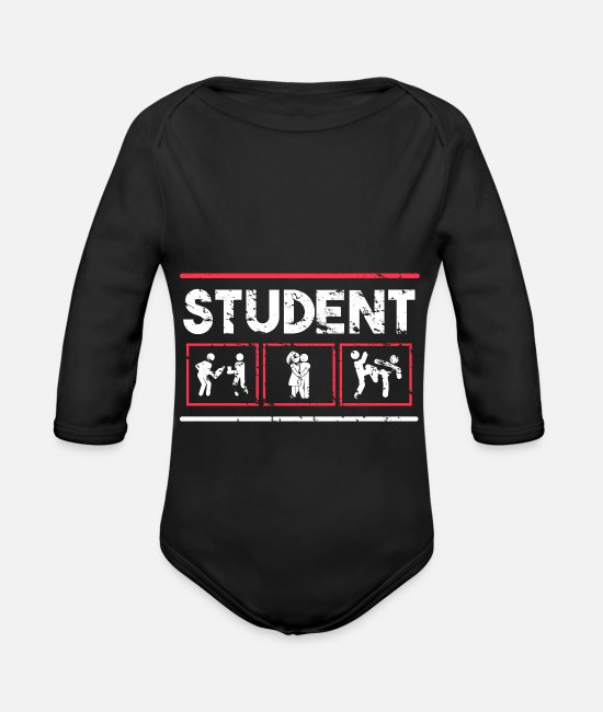 Studies Baby Bodysuits - Student pictogram party learning sex relationship - Organic Long-Sleeved Baby Bodysuit black