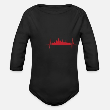 West Midlands My Heart beats Birmingham heartbeat frequency Tee - Baby Bio Langarmbody