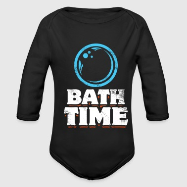 Blasen Bath time gift saying soap bubbles - Organic Longsleeve Baby Bodysuit