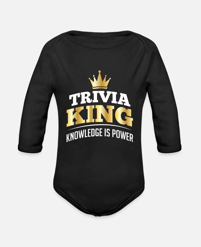 Clever Baby Bodys - Trivia King Knowledge Is Power - Baby Bio Langarmbody Schwarz