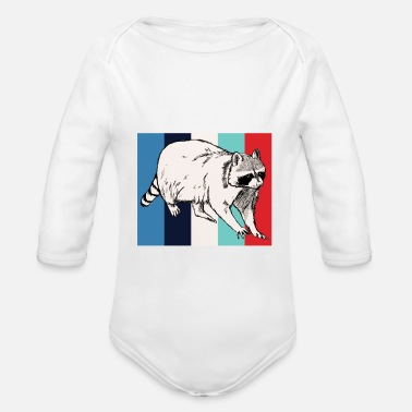 Rodent Rodent | Retro | Rodent | racoon - Organic Long-Sleeved Baby Bodysuit
