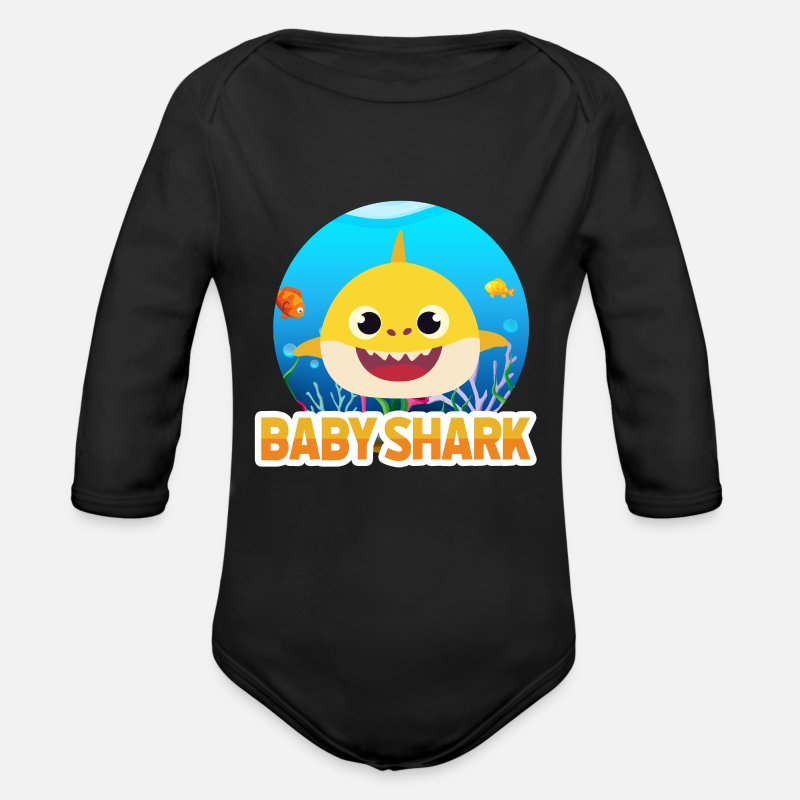 Shark Baby Clothing - Baby shark - Longsleeved-Sleeved Baby Bodysuit black